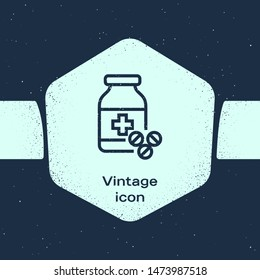 Grunge line Medicine bottle and pills icon isolated on blue background. Bottle pill sign. Pharmacy design. Monochrome vintage drawing. Vector Illustration