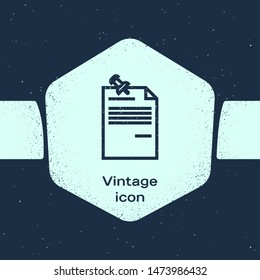 Grunge line Note paper with pinned pushbutton icon isolated on blue background. Memo paper sign. Monochrome vintage drawing. Vector Illustration