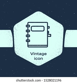 Grunge line Notebook icon isolated on blue background. Spiral notepad icon. School notebook. Writing pad. Diary for school. Monochrome vintage drawing. Vector Illustration