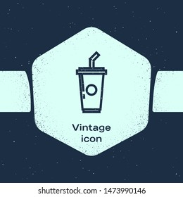 Grunge line Paper cup with drinking straw and water icon isolated on blue background. Soda drink glass. Fresh cold beverage symbol. Monochrome vintage drawing. Vector Illustration