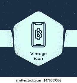 Grunge line Phone mobile and cryptocurrency coin Bitcoin icon isolated on blue background. Physical bit coin. Blockchain based secure crypto currency. Monochrome vintage drawing. Vector Illustration