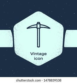 Grunge line Pickaxe icon isolated on blue background. Blockchain technology, cryptocurrency mining, bitcoin, digital money market, cryptocoin wallet. Monochrome vintage drawing. Vector Illustration
