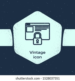 Grunge line Secure your site with HTTPS, SSL icon isolated on blue background. Internet communication protocol. Monochrome vintage drawing. Vector Illustration