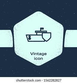 Grunge line Ship with shield icon isolated on blue background. Insurance concept. Security, safety, protection, protect concept. Monochrome vintage drawing. Vector Illustration