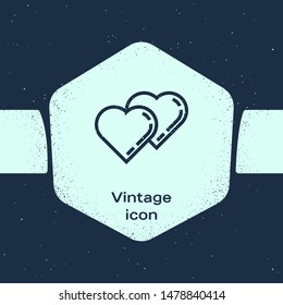 Grunge line Two Linked Hearts icon isolated on blue background. Romantic symbol linked, join, passion and wedding. Valentine day symbol. Monochrome vintage drawing. Vector Illustration