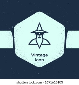 Grunge line Wizard warlock icon isolated on blue background. Monochrome vintage drawing. Vector Illustration