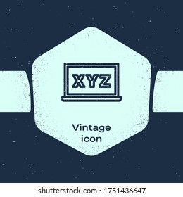 Grunge line XYZ Coordinate system on chalkboard icon isolated on blue background. XYZ axis for graph statistics display. Monochrome vintage drawing. Vector