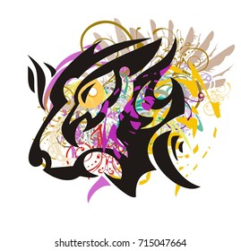Grunge lion head with head of an eagle inside. Tribal aggressive growling lion head with the eagle head inside against the background of colorful splashes and wings