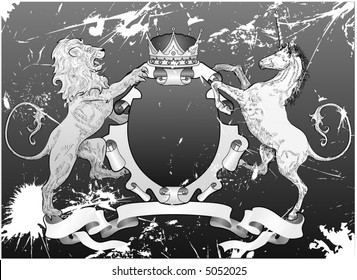 Grunge Lion and Unicorn Shield A grunge shield coat of arms element featuring a lion, unicorn and crown