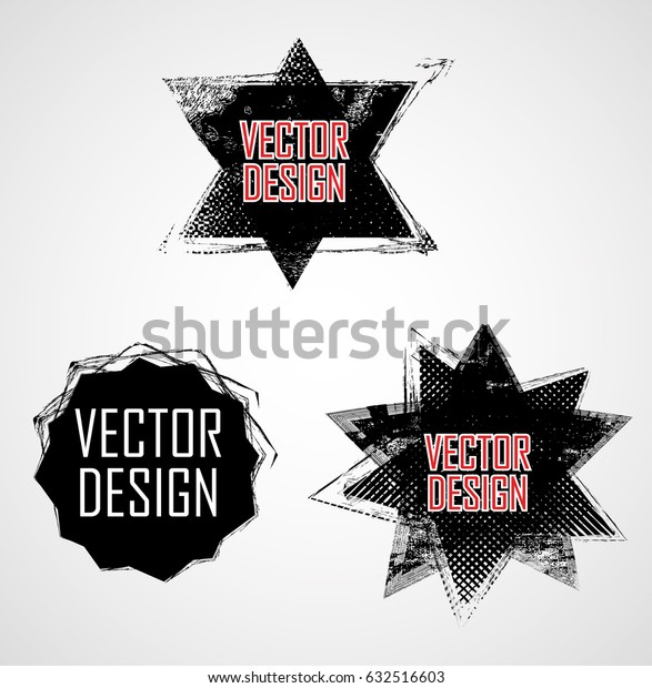 Grunge Logo Ribbon. Modern Shape Stamps Collection,Grunge Circles. Can be used as Banners, Insignias , Logos, Icons, Labels or Badges.