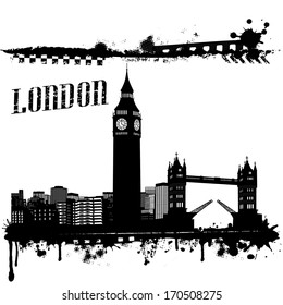 Grunge London cityscape background on white, vector illustration