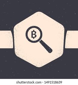 Grunge Magnifying glass with Bitcoin icon isolated on grey background. Physical bit coin. Blockchain based secure crypto currency. Monochrome vintage drawing. Vector Illustration