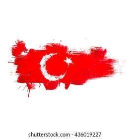 Grunge map of Turkey with Turkish flag