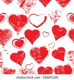 Grunge Messy Hearts Seamless Pattern. Vector Illustration.