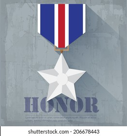 grunge military honor medal icon background concept. Vector illustration design