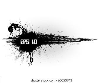 Grunge minimalistic banner in black style background with splash