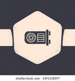 Grunge Mining farm icon isolated on grey background. Cryptocurrency mining, blockchain technology, bitcoin, digital money market, wallet. Monochrome vintage drawing. Vector Illustration