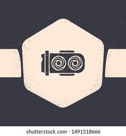 Grunge Mining farm icon isolated on grey background. Cryptocurrency mining, blockchain technology, digital money market, cryptocoin wallet. Monochrome vintage drawing. Vector Illustration