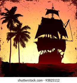 grunge mist pirate ship in ocean