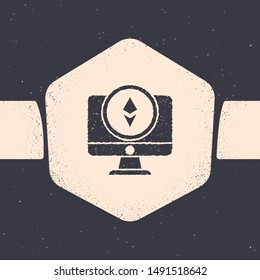 Grunge Monitor and Cryptocurrency coin Ethereum ETH icon isolated on grey background. Altcoin symbol. Blockchain based secure crypto currency. Monochrome vintage drawing. Vector Illustration