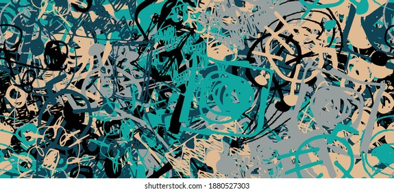 Grunge is multicolored. Abstract seamless background. The texture is repetitive. Template for printing on fabric, paper, wrapper. A chaotic backdrop of graffiti