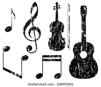 grunge music elements, guitar, violin, treble clef and notes, isolated illustration