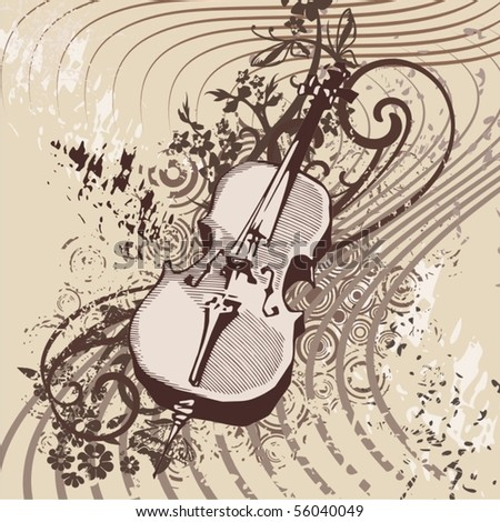 Grunge Music Instrument Background Violin Stock Vector Royalty Free