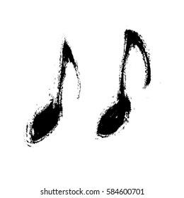 grunge music notes sign icon, vector illustration design element