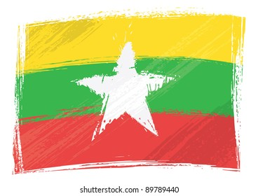 Grunge Myanmar flag