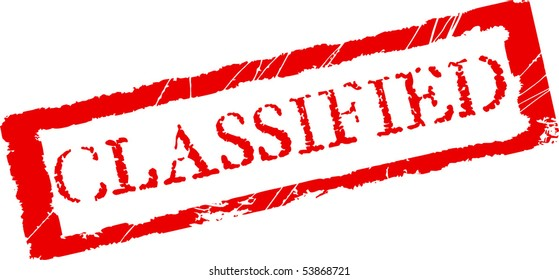 Grunge office stamp with the word Classified in red color