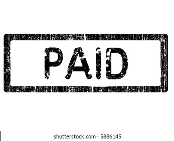 Grunge Office Stamp with the words PAID in a grunge splattered text. (Letters have been uniquely designed and created by hand)