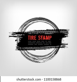 Grunge off-road post and quality stamp. Automotive element useful for banner, sign, logo, icon, label and badge design . Tire tracks textured vector illustration isolated on light greybackground.