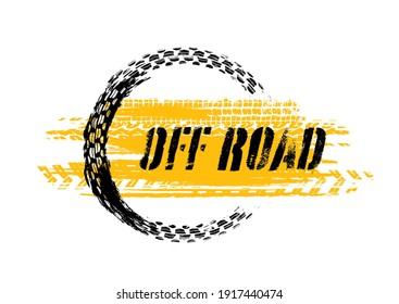 Grunge off-road post and quality stamp. Automotive element useful for banner, sign, logo, icon, label and badge design. Tire tracks vector illustration.