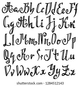 Grunge old pen gothic font. Blackletter script. Vector illustration.