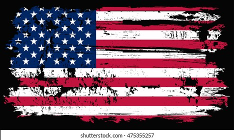 Grunge old USA flag.Vector illustration.