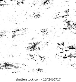 Grunge overlay layer. Abstract black and white vector background. Monochrome vintage surface with dirty pattern in cracks, spots, dots. Old wall in dark horror style design