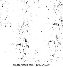Grunge overlay layer. Abstract black and white vector background. Monochrome vintage surface with dirty pattern in cracks, spots, dots. Old painted wall in dark horror style design