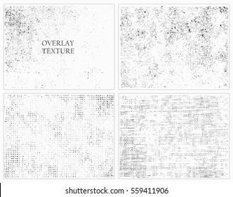 Grunge overlay textures.Distress textures.Vector template.