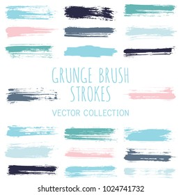 Grunge paint brush stroke stripes vector set, paint dab graphic design elements. Can be used in colors guide book, interior design catalog, printing industry. Brush or marker pen isolated traces.