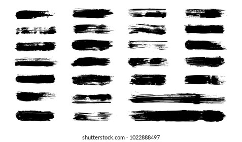 Grunge paint brushes (added in menu), vector brush strokes. Grungy banner, texture, box, frame set. Isolated dirty paintbrush collection. Textured shapes and stripes. Dry hand drawn borders, lines.