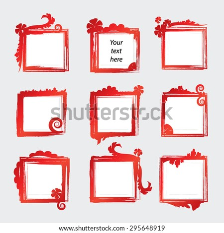 Grunge Paint Frames Vector Elements Set Stock Vector (Royalty Free ...