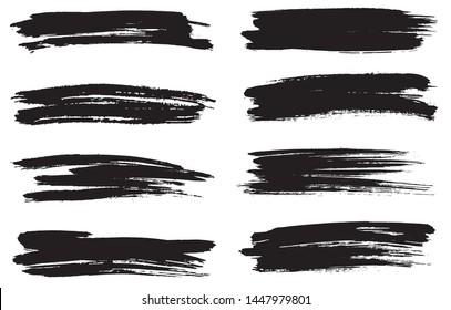Grunge paint lines. Grunge brushes set.