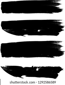 Grunge Paint Roller . Vector brush Stroke . Distressed banner . Black stripes isolated. paintbrush collection . Modern Textured shape . Dry border in Black . Bulge lines