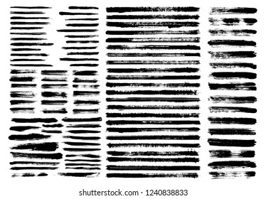 Grunge paint stain brush stroke dabs set. Black vector sumi painting design elements isolated on white background. Horizontal brushstroke lines, chinese or japanese graphic ink art hand drawn elements