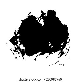 grunge paint stain isolated on white, vector