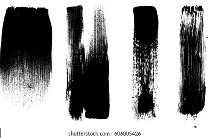Grunge Paint stripe . Vector brush Stroke . Distressed banner . Black isolated paintbrush collection . Modern Textured shape . Dry border in Black .