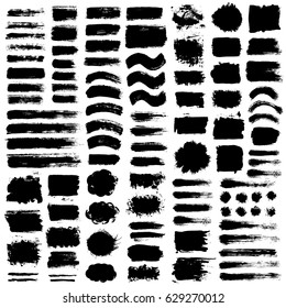 Grunge paint vector. Painted brush strokes. Texture text box set. Distress stripes backgrounds. Hand drawn banner, label, frame shapes. Black textured design elements. Grungy scratch effect.