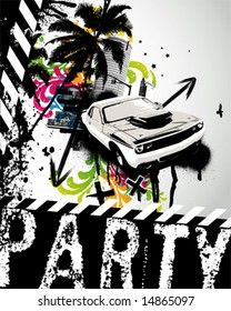 Grunge Party Car City Vector Illustration