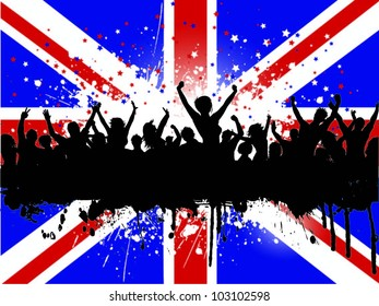 Grunge party crowd on a Union Jack background - ideal for the Queens Jubilee