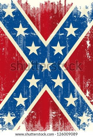 Grunge Patriotic Confederate Flag Background Poster Stock Vector